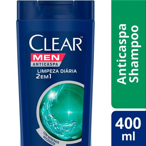 Shampoo Clear Men Limpeza Diária 2 em 1 400ml