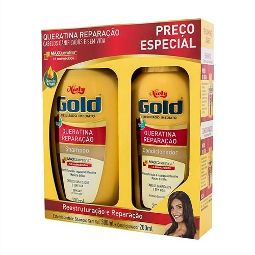 Shampoo + Condicionador Niely Gold Queratina Reparação com 300ml Cada Preço Especial