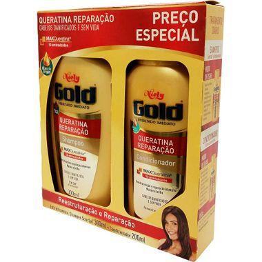 Shampoo + Condicionador Queratina Reparação 300+200ml Niely Gold