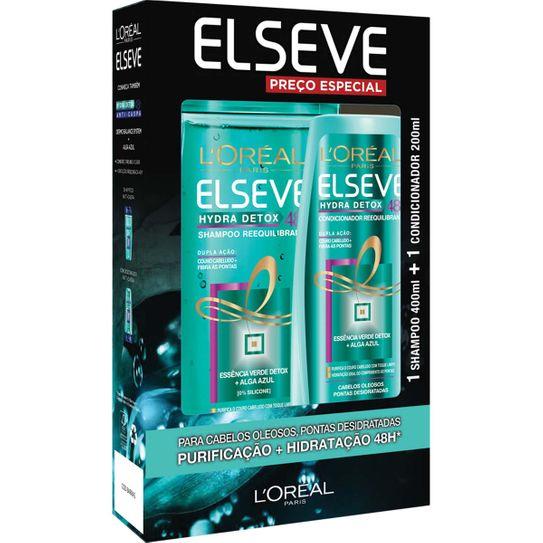 Shampoo Elseve Hydra Detox 48h Cabelos Oleosos 400ml + Condicionador Hydra Detox 48h Cabelos Oleosos 200ml