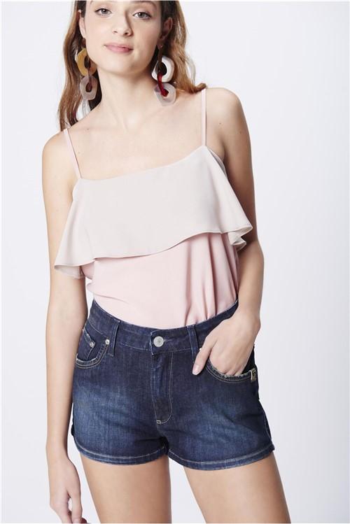 Short Jeans Cintura Alta Básico Feminino