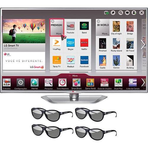 "Tudo sobre 'Smart TV 3D LED 55"" LG 55LA6214 Full HD 3 HDMI 3 USB 120Hz + 4 Óculos 3D'"