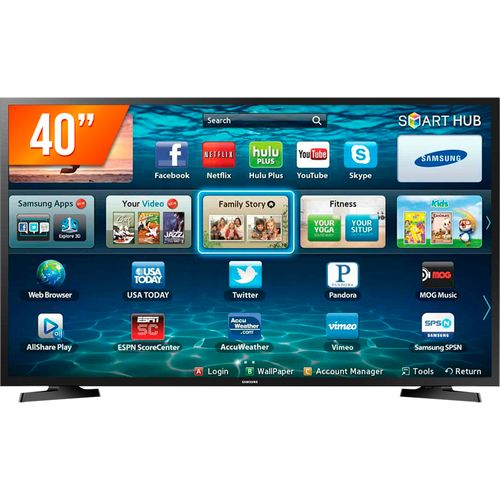 Tudo sobre 'Smart TV LED 40'' Full HD Samsung LH40 2 HDMI 1 USB Wi-Fi'