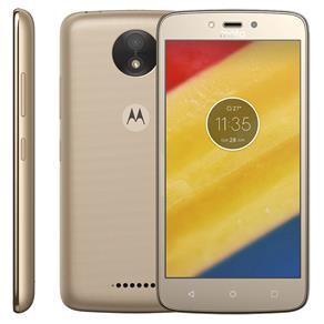 Smartphone Motorola Moto C Plus XT1726 Ouro 16GB, Tela 5'', TV Digital, Dual Chip, Android 7.0, 4G, Câmera 8MP, Processador Quad-Core e 1GB de RAM
