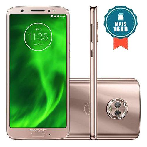 """Smartphone Motorola Moto G6 64GB Tela 5.7"""" - Ouro + Cartão SD 16GB"""