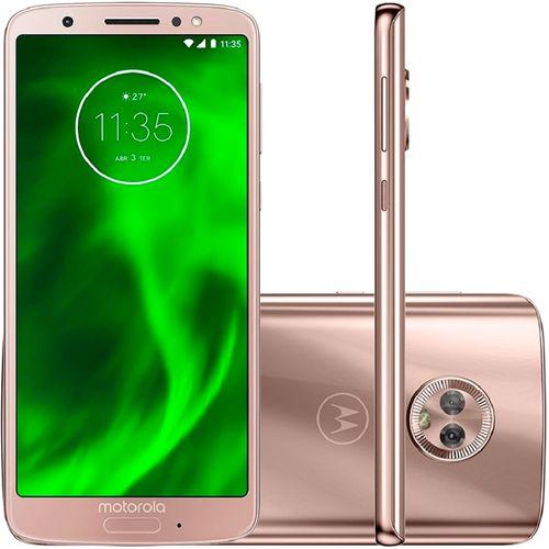 Smartphone Motorola Moto G6 XT1925 64GB, Dual Chip, 4G, Android 8.0, Câm 12MP, Tela 5.7. Wi-Fi Ouro Rose
