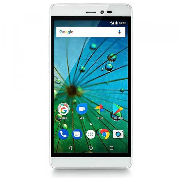 Smartphone MS60F Plus 4G Multilaser Branco/Dourado - NB716 Tela 5,5 Pol. Sensor de Impressão Digital 2GB RAM Dual Chip Android 7