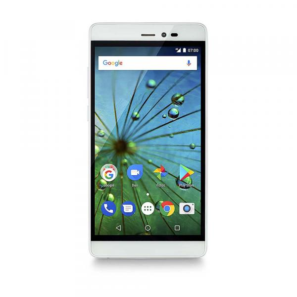 Smartphone MS60F Plus 4G Tela 5,5 Pol. Sensor de Impressão Digital 2GB RAM Dual Chip Android 7 Multilaser Branco/Dourado - NB716