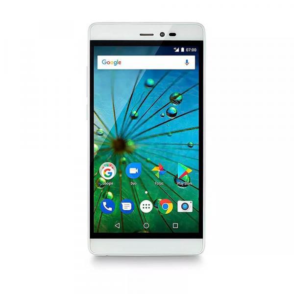 Smartphone MS60F Plus 4G Tela 5,5 Sensor de Impressao Digital 2GB RAM Dual Chip Android 7 Multilaser Branco/Dourado
