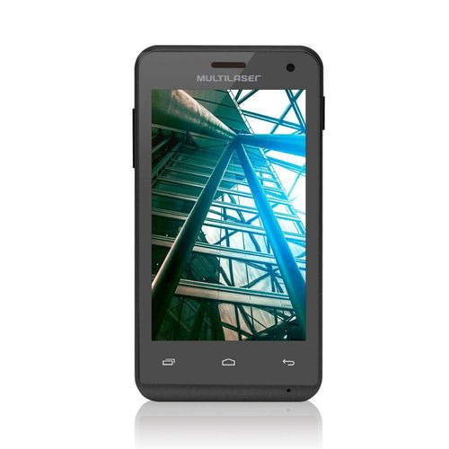 """SmartPhone Multilaser MS40 Preto - 2 Chips, Tela 4.0"""", Android 4.4, Q.Core 1.2GHz, Câm 2MP+5MP, Wi -"""