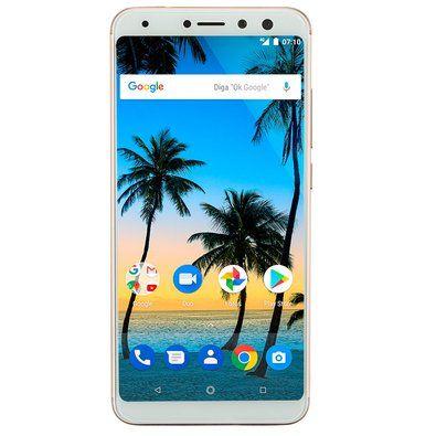 "Smartphone Multilaser MS80 4GB RAM + 64GB Tela 5,7"" HD+ Android 7.1 Qualcomm Dual Câmera 20MP+8MP Dourado - NB725"