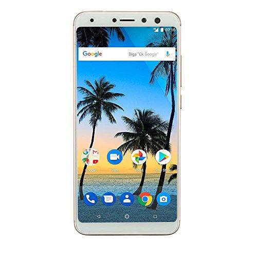 Smartphone Multilaser Ms80 4Gb Ram + 64Gb Tela 5,7 Hd+ Android 7.1 Qualcomm Dual Câmera 20Mp+8Mp DouradoNB725