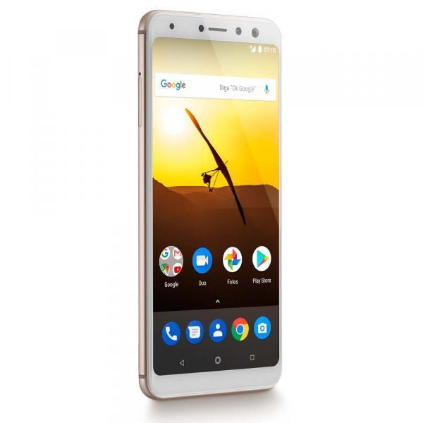 "Smartphone Multilaser MS80 3GB RAM + 32GB Tela 5,7"" HD+ 4G Android 7.1 Qualcomm Dual Câmera 20MP+8MP Dourado - P9065"