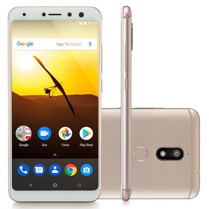 "Smartphone Multilaser MS80 3GB RAM + 32GB Tela 5,7"" HD+ Android 7.1 Qualcomm Dual Câmera 20MP+8MP Dourado NB723"
