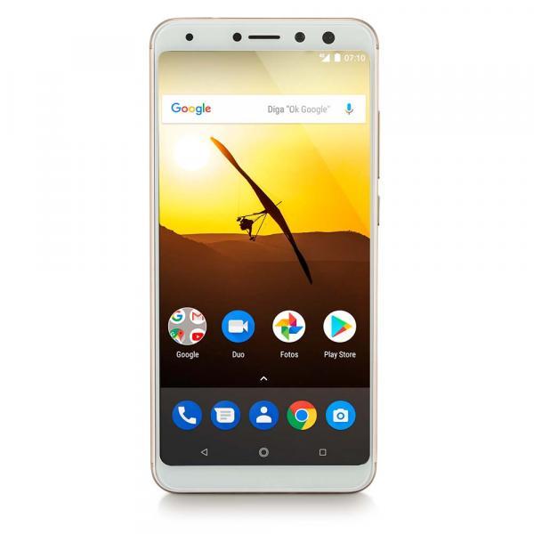 Smartphone Multilaser MS80 3GB RAM + 32GB Tela 5,7 HD+ Android 7.1 Qualcomm Dual Câmera 20MP+8MP Dourado