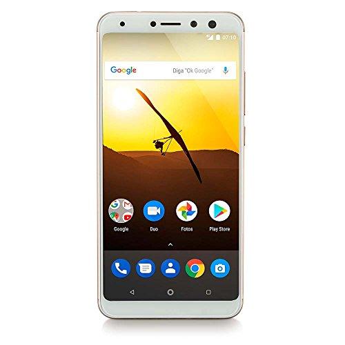 Smartphone Multilaser Ms80 3Gb Ram + 32Gb Tela 5,7 Hd+ Android 7.1 Qualcomm Dual Câmera 20Mp+8Mp DouradoNB723