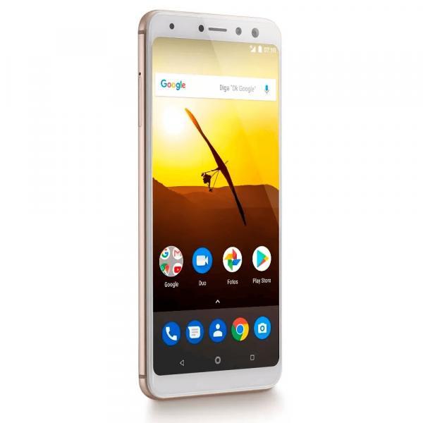 "Smartphone Multilaser MS80 NB723 Dual Câmera 20MP+8MP 3GB RAM + 32GB Tela 5,7"" HD+ Android 7.1 Qualcomm Dourado"