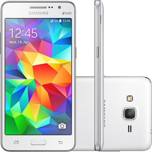 """Tudo sobre 'Smartphone Samsung Galaxy Gran Prime Duos Dual Chip Android Tela 5"""" Memória Interna 8GB 3G Câmera 8MP - Branco'"""