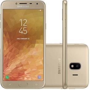 """Smartphone Samsung Galaxy J4 16GB, Tela 5.5"""", Dual Chip, 4G, Câmera 13MP, Android 8.0, Processador Quad Core e RAM de 2GB - Dourado"""