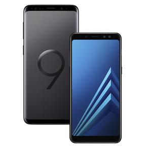 Smartphone Samsung Galaxy S9 Preto com 128GB + Smartphone Samsung Galaxy A8 Preto com 64GB