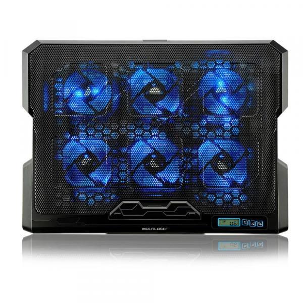 Suporte P/ Notebook Até 17 C/ 6 Coolers Led Azul Multilaser AC282