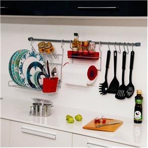 Suporte para Cozinha com 11 Peças Vermelho - Vermelho