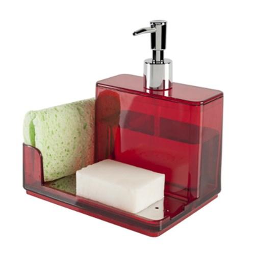 Suporte para Detergente e Esponja Plástico Vermelho Suprema