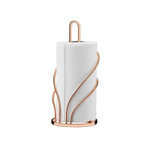 Suporte para Papel Toalha em Aço Carbono Future Rosé Gold 13x13x29cm