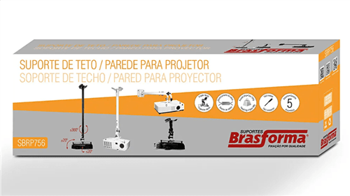 Suporte para Projetor de Teto e Parede Universal - Sbrp756B Branco
