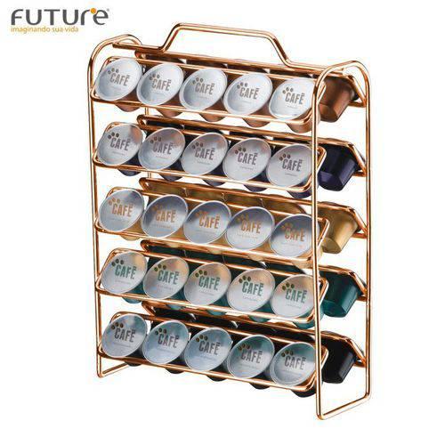 Suporte Porta 50 Cápsulas Café Nespresso Rosé Gold - 1147rg Future