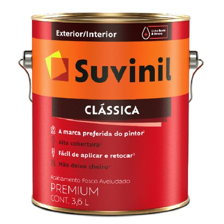 Suvinil Acrílico Clássica Premium Fosco 3,6 Litros Branco