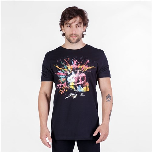 T-Shirt Colorful Skull Preta (P)