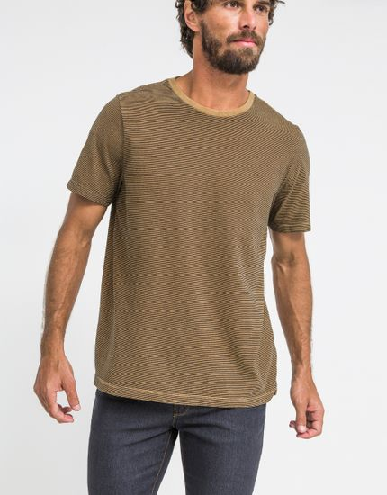 T-Shirt Mini Stripes Tinturada M - CAMELO