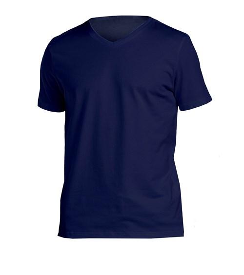 T-Shirt Slim Gola V Marinho / M