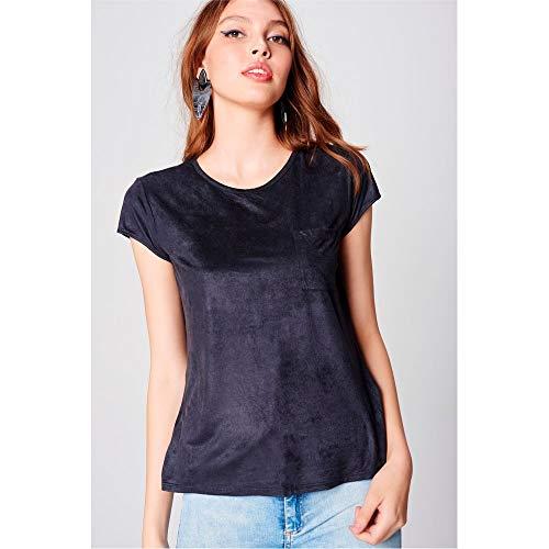 T-Shirt Suede Tam: G/Cor: PRETO