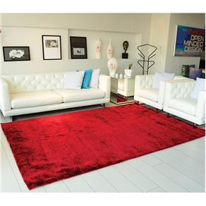 Tapete Apolo Prata Textil Retangular 200x250cm Vermelho