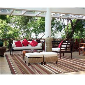Tapete São Carlos 100x150 Cm Bali Listrado - Bege/Cinza/Vermelho