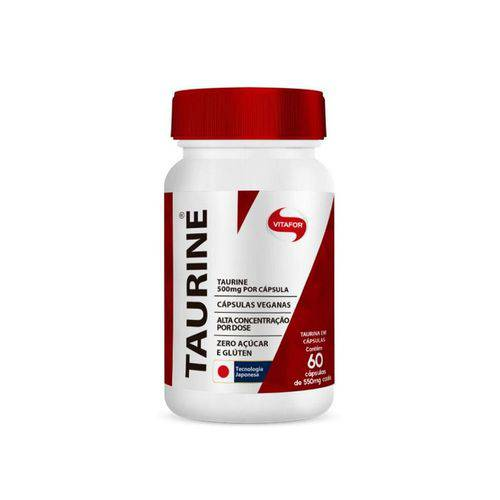 Taurina de 550mg - Vitafor - Contém 60 Cápsulas