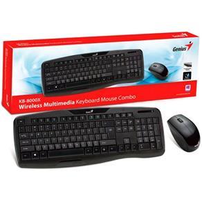 Teclado e Mouse - Sem Fio - Genius KB-8000X (Wireless Combo) - Preto