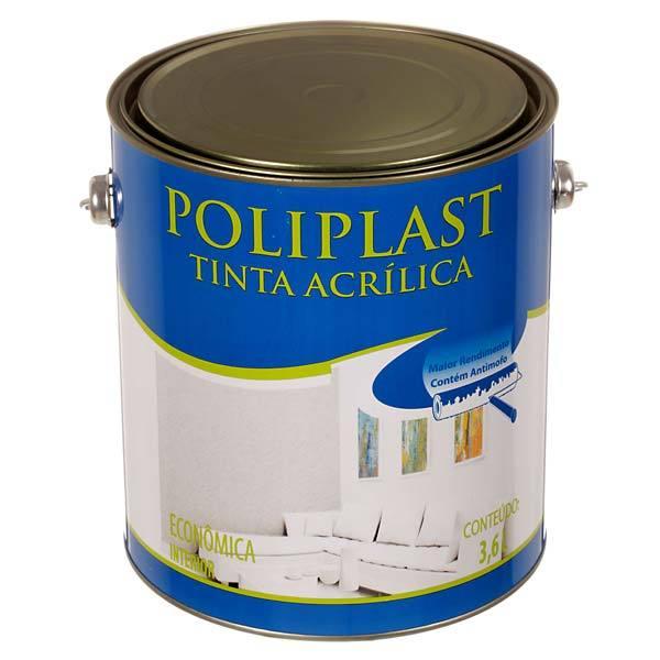 Tinta Acrílica Fosco Econômica Poliplast Gelo 3,6L Universo Tintas