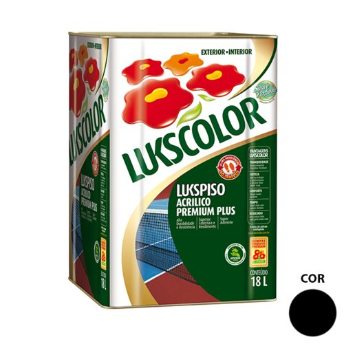 Tinta Acrílica Fosco Preto Piso Lukscolor 18l