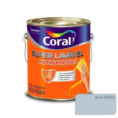 Tudo sobre 'Tinta Acrílica Super Lavável Antimanchas Coral - Azul Pálido - 16 Litros'