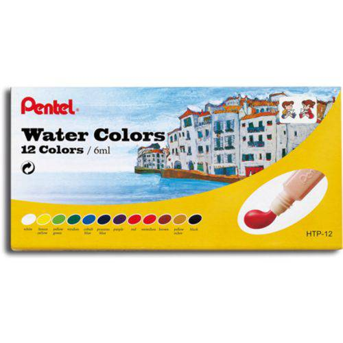 Tudo sobre 'Tinta Aquarela Pentel 12 Cores Water Colors Htp-12'