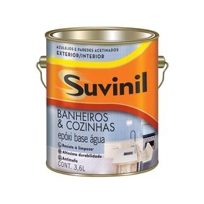 Tinta Epóxi 3,6lts Acetinado Banheiro/Cozinha B. Agua Bco Suvinil