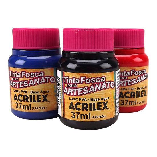 Tinta PVA Fosca para Artesanato Cores Escuras 37ml - Acrilex 501 - Azul Turquesa