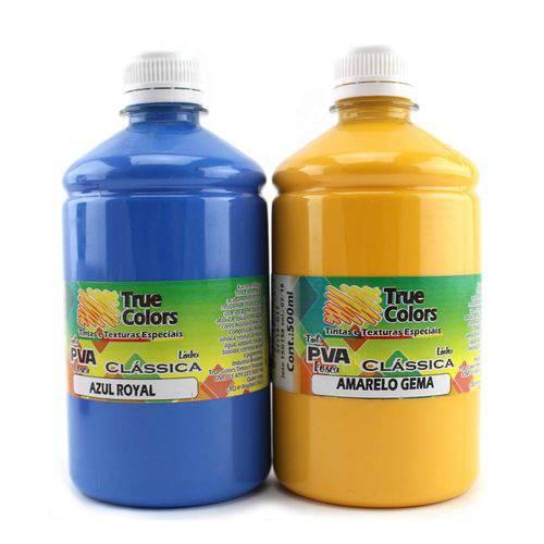 Tinta Pva para Artesanato Fosca 500ml Cores Escuras - True Colors