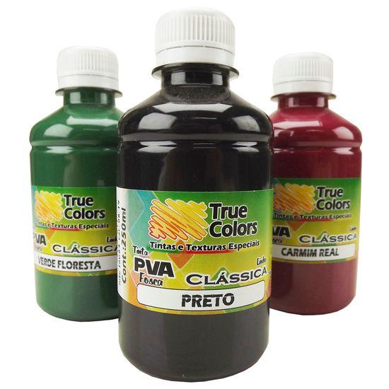 Tinta PVA para Artesanato Fosca 250ml Cores Escuras - True Colors 7100 - Preto