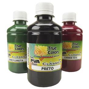 Tinta PVA para Artesanato Fosca 250ml Cores Escuras - True Colors 7141 - PRETO FOSCO