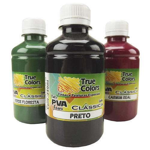 Tinta Pva para Artesanato Fosca 250ml Cores Escuras - True Colors