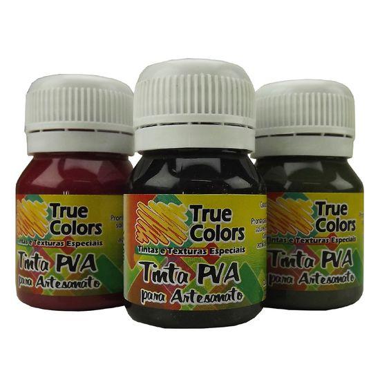 Tinta PVA para Artesanato Fosca 37ml Cores Escuras - True Colors 7100 - Preto